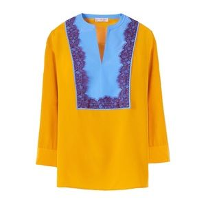 TORY BURCH • Golden Claire Colorblock Tunic Top